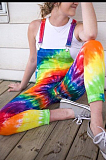 Casual fashion tie-dye positioning printed jumpsuit suspenders LNS760