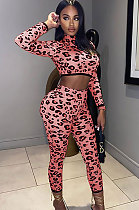 Sexy Polyester Leopard Dew Waist Long SleeveClub Suit SetsCCN1826