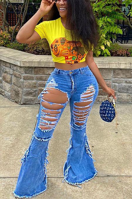 Casual Cute Simplee High Waist Flare Leg Pants Jeans LS6376
