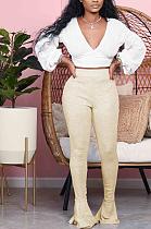 Casual Basics Simplee Elastic Waist High Waist Flare Leg Pants WY6715