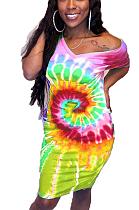 Décontracté mignon Simplee Tie Dye manches courtes col rond T-shirt robe BLE2024