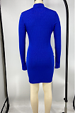 Casual Modest Simplee Long Sleeve Deep V Neck Mini Dress X9260