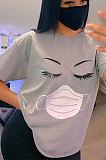 Casual and lovely round collar print T-shirt LSN753