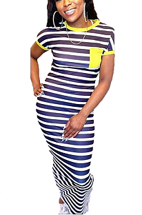 Casual Cute Simplee Striped Short Sleeve Round Neck Long Dress BLE2026