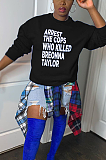 Casual Preppy Simplee Letter Long Sleeve Round Neck Tee Top BN9255