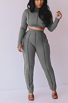Casual autumn hollow out sport crop top suit XQ1044