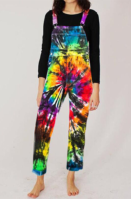 Casual fashion tie-dye positioning printed jumpsuit suspenders LNS763