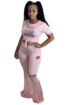 Sexy Polyester The Letters Flare Leg Pants Hole Pants Two-PieceCCN1820