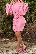 Casual PolyesterLoose Long Sleeve Round Collar Skirts  SetsMDF5167
