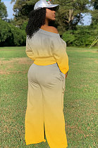 Casual Polyester Gradient Long Sleeve Tie Cuffs Wide Leg Pants SetsCCN1828