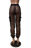 Blazer Boho Sexy Organza Hollow Out Ruffle High Waist Pants BN9253