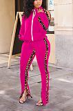 Casual leopard print Mosaic two - piece off-the-shoulder sport suit LNS774