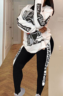 Casual Polyester Long Sleeve Printing Round Neck Tee Top Pants Sets YSH6170