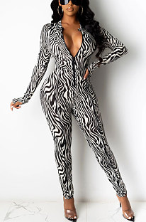 Sexy Polyester Long Sleeve Zipper Mid Waist Jumpsuits  KA7118