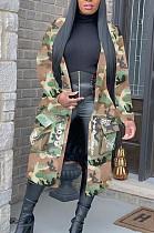 Casual Polyester Camo Long Sleeve V Neck Coat SN3726