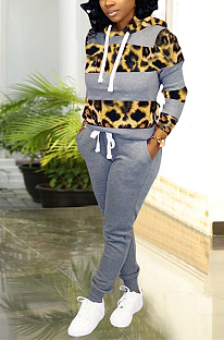 Casual Preppy Sporty Leopard Long Sleeve Spliced Hoodie Long Pants Sets