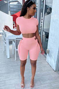 Sexy Polyester Short Sleeve Shorts Bind Club Suit Two-Piece KA7115