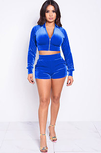 Sporty Polyester Zipper Long Sleeve Shorts Pleuche Two-Piece CYF3676