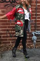 Jaqueta de camuflagem de manga curta de lantejoulas com colarinho de bolso moda casual QQ5167