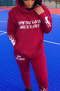 Casual lettered autumn/winter print hoodie set QQ5212