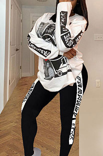 Casual Polyester Printing  Long Sleeve Two-PieceYSH6172