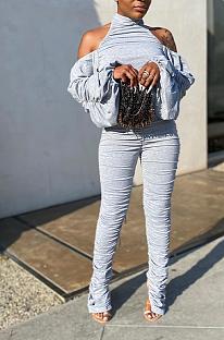 Calça casual com fenda pregueada com mangas bolha e macacão esportivo QQ5209 nas costas abertas