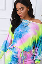 Casual Cotton Tie Dye Long Sleeve Inclined Shoulder Two-PieceWT9002