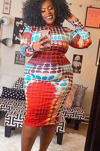Casual  Printing Tight Package Buttocks Plus Size Dress  WT9018