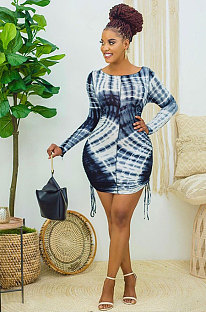 Casual Long Sleeve Ruffle Printing And Dyeing Dress WT9016