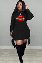 فستان كاجوال من البوليستر بطبعة الفم وأكمام طويلة وياقة مستديرة وعقدة جانبية وسط الخصر