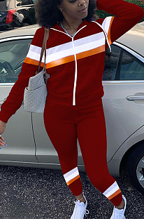 Casual Sporty Simplee Striped Long Sleeve Spliced Hoodie Pants Sets FA7130