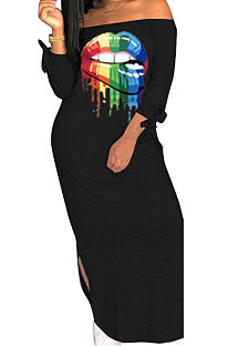 Casual Polyester Mouth Graphic Off Shoulder Long sleeve Printing Dress  WT9011