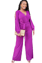 Sexy Milk Fiber Hollow Out  The Belt  Casual Jumpsuit WT9007