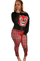 Lässige lange Hosen Plaid Cartoon Grafik Langarm T-Shirt Top Sets WT9021