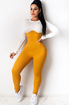 Casual Polyester Long Sleeve Round Neck Spliced Article pit  Tight  Jumpsuits  YSH6180