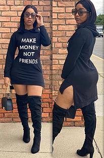 Urban style print asymmetrical trim hoodie mini dress JH188