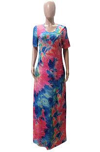 Casual Tie Dye Short Sleeve Long Dress Wide Collar  Dress WT9010