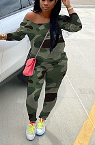 Casual off-the-shoulder long sleeve camouflage suit H1538