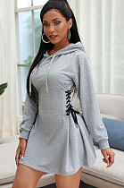 Sexy Polyester Long Sleeve Hooded Bind Mini Dress  KK8226