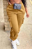 Pantalon de sport décontracté en mélange de coton de couleur pure KSN8036