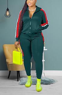 Casual splice zipper sport suit H1530