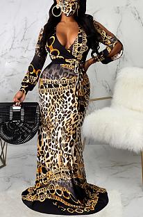 Modest Elegant Sexy Leopard Deep V Neck Long Dress SMR9741