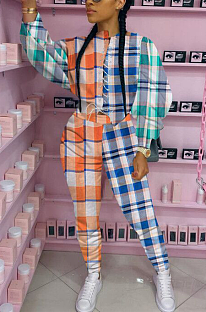 Casual check contrast suit H1549