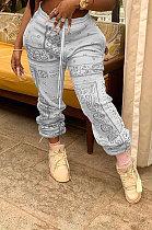 Pantalon de survêtement ample en polyester décontracté à taille moyenne imprimant un totem CYY8023