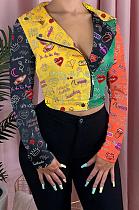 Jaqueta casual cartoon cor contraste com mangas compridas e gola alta H1546