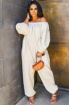 Casual Polyester Long Sleeve A Word Shoulder Pure Color Loose Casual Jumpsuit  OLY6017