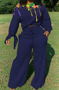 Casual Polyester Fleece The Paint Inkjet Tie Cuffs  Wide Leg Pants  Two-Piece CYY8027