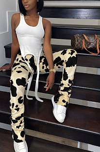 Casual Polyester Leopard Ruffle Mid Waist Long Pants  CYY8013