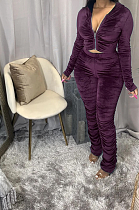 Autumn Pleated Solid Color Zipper Up Hoodie Two-piece Pants Set HG068