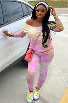 Sporty Polyester Tie Dye Long Sleeve Leisure Suit Excluding Scarf  WA7081